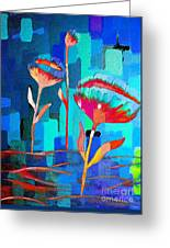 Poppies On Blue 1 Greeting Card