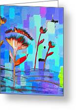 Poppies On Blue 3 Greeting Card