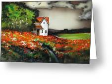 Poppies On The Old Homestead Greeting Card by Kendra Sorum