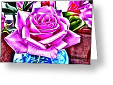 Poppin Purple Rose Greeting Card