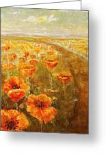Poppy Field  Triptic Middle Greeting Card
