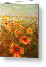 Poppy Field  Triptic Right Greeting Card