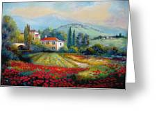 Poppy Fields Of Italy Greeting Card