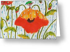 Poppy With Piper  In The Rain Greeting Card