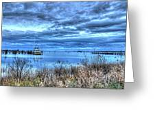 Poquoson Yacht On Stormy Morning Greeting Card