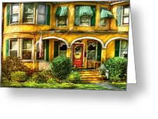 Porch - Cranford Nj - A Yellow Classic  Greeting Card
