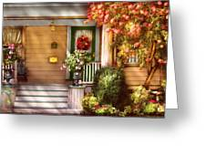 Porch - Cranford Nj - Simply Pink Greeting Card by Mike Savad