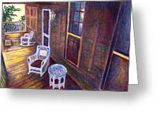 Porch In Golden Light Greeting Card