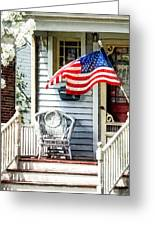 Porch With Flag And Wicker Chair Greeting Card