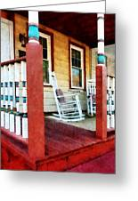 Porch With Red White And Blue Railing Greeting Card