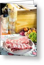 Pork Ribs With Vegetable Greeting Card