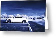 Porsche Car Side Profile Blue Near Infrared Greeting Card