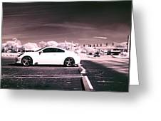 Porsche Car Side Profile Pink Near Infrared Greeting Card