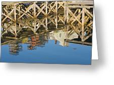 Port Clyde Maine Lobster Traps Reflecting In Water Greeting Card