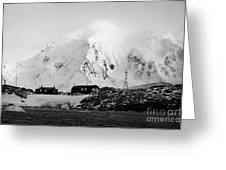 port lockroy british Antarctica trust base museum with anvers island in the background Greeting Card