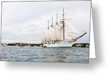 Juan Sebastian De Elcano Famous Tall Ship Of Spanish Navy Visits Port Mahon In Front Of Bloody Islan Greeting Card