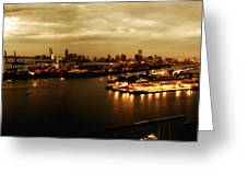 Port Miami Golden Photopaint Greeting Card