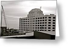 Port Of Galveston Building In B And W Greeting Card