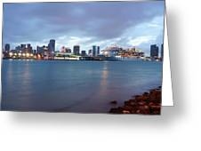 Port Of Miami At Dusk Greeting Card