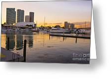 Port Of Miami At Sunset Greeting Card