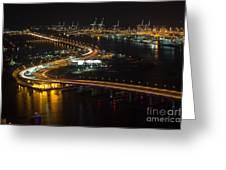 Port Of Miami Macarthur Causeway Greeting Card