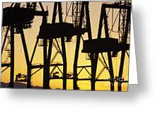 Port Of Seattle Cranes Silhouetted Greeting Card