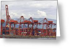 Port Of Vancouver Bc Cranes And Containers Greeting Card