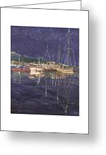 Stary  Port Orchard Night Greeting Card