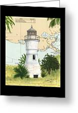 Port Pontchartrain Lighthouse La Chart Map Art Greeting Card