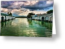Storm Clouds Over  Port Royal Boathouses In Naples Greeting Card