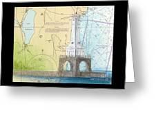 Port Washington Lighthouse Wi Nautical Chart Map Art Greeting Card