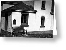 Port Wilson Lighthouse Bench Bw Greeting Card