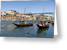 Port Wine Boats In Porto City Greeting Card