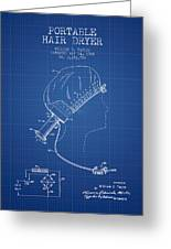 Portable Hair Dryer Patent From 1968 - Blueprint Greeting Card