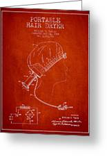 Portable Hair Dryer Patent From 1968 - Red Greeting Card