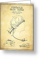 Portable Hair Dryer Patent From 1968 - Vintage Greeting Card