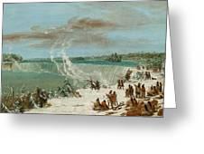Portage Around The Falls Of Niagara At Table Rock Greeting Card