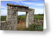 Portal Of Vineyard In Burgundy Near Beaune. Cote D'or. France. Europe Greeting Card