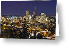 Portland Cityscape And Freeway At Blue Hour Greeting Card