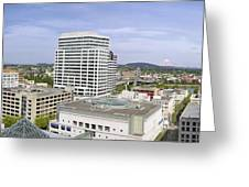 Portland Downtown Cityscape With River And Mountain Greeting Card