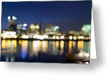 Portland Downtown Out Of Focus City Lights Greeting Card