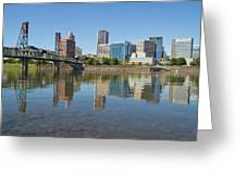 Portland Downtown Skyline And Hawthorne Bridge Greeting Card