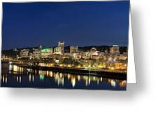 Portland Downtown Skyline At Blue Hour Greeting Card
