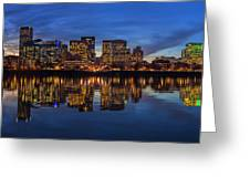 Portland Downtown Skyline At Blue Hour Panorama Greeting Card