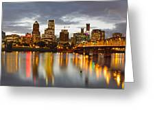 Portland Downtown Skyline At Sunset Greeting Card