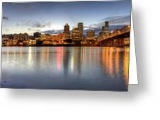 Portland Downtown Skyline Night Panorama 2 Greeting Card