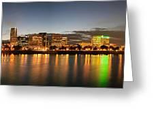 Portland Downtown Skyline Night Panorama Greeting Card