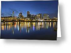 Portland Downtown With Hawthorne Bridge At Blue Hour Greeting Card