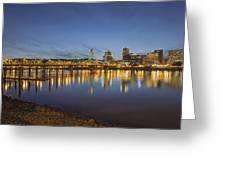 Portland Downtown With Hawthorne Bridge At Dusk Greeting Card