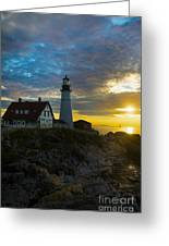 Portland Head Light At Dawn Greeting Card